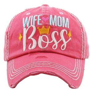Wife Mom Boss Vintage Distressed Cap